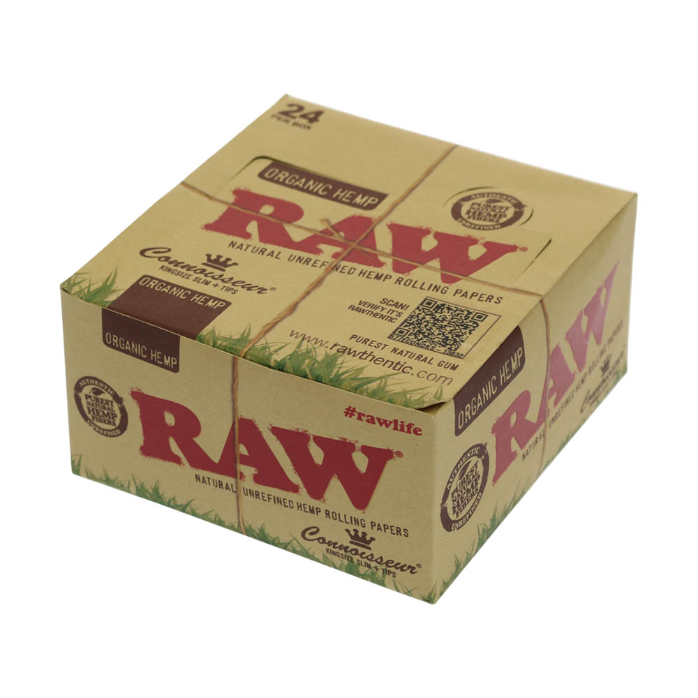 💨 Raw Organic Hemp Connoisseur King Size Slim Rolling Papers with Tips Smartific 716165177586
